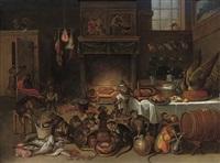 a singerie in a kitchen by ferdinand van kessel