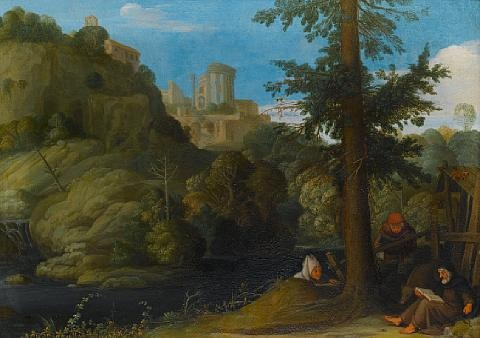 a hermit with two travellers in a wooded landscape by johann hans konig