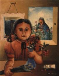 la fille de l'artiste avec des fleurs by wilson bigaud