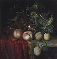 a bunch of grapes, two peaches, plums and a chestnut, with a butterfly and a cockroach by anna elisabeth ruysch