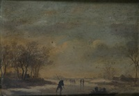 figures skating on a frozen lake, travellers (+ shepherd with flock in a pastoral landscape; pair) by adrianne van der neer