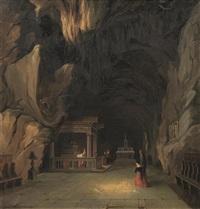 interno di grotta con cappella by vincenzo abbati