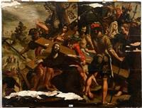 simon de cyrène aidant le christ à porter sa croix by bernaert (barend) van orley