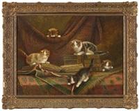 chatons jouant sur de vieux livres by cornelis raaphorst