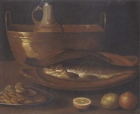 fish on an earthenware platter, a pitcher in a copper urn, a dish of nuts, with oranges and a lemon on a ledge by alessandro de loarte