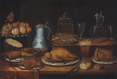 cooked game birds fruit bread wine glasses and jars on a partially draped table by french school alsatian 18