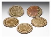 iga glazed plates (5 set) by kitaoji rosanjin