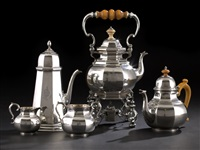 five-piece tea and coffee set by george fox