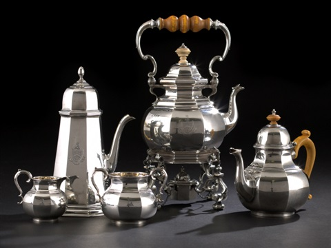 five piece tea and coffee set by george fox