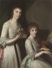 double portrait of sisters in white dresses with pink and blue sashes by john francis rigaud