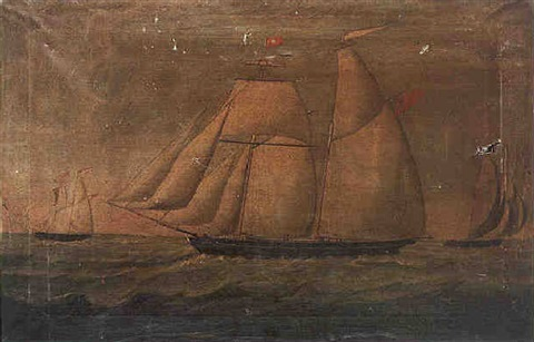 the topsail schooner johns in full sail by a cramond
