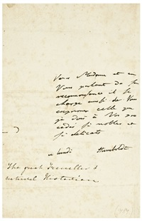 "autograph note to an unnamed correspondent in french signed ""humboldt"" by alexander von humboldt"