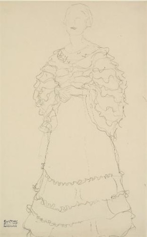 stehend etwas nach links die hände ineinandergelegt standing figure facing slightly to the left hands folded by gustav klimt
