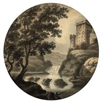 capriccio, with a castle above a waterfall by robert adam
