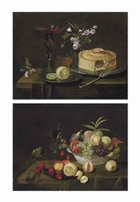 grapes, peaches, a fig and a passion fruit in a wan-li porcelain bowl, a half-peeled lemon on a pewter platter, and a façon-de-venise wine glass, on a partly-draped wooden table (+ a pie and a cut lemon on pewter platters, a façon-de-venise wine glass and by frans ykens