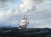 den danske brig ørnen forlader island, i baggrunden laugarfjeldet by carl emil baagöe