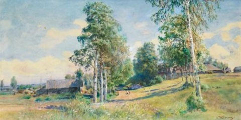 russian village in spring by konstantin egorovich makovsky