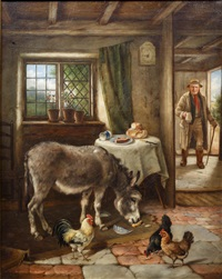 cottage interior with donkey and poultry by charles hunt