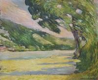 paysage avec la rivière by alfred swieykowski