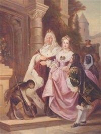 a regal couple arriving at a grand house by b. heidland