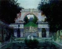 a fountain ruin at schonbrun palace, vienna by jacob kagonowsky
