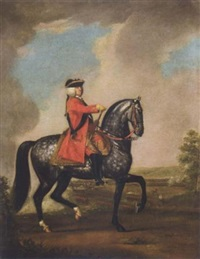 equestrian portrait of king george ii mounted on his grey charger, the battle of dettingen beyond by david morier