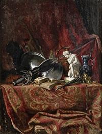 nature morte aux objets d'art, sculpture et cuirasse sur un tapis by felix-hippolyte lanoue