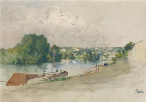 vue des bords de seine by ferdinand heilbuth