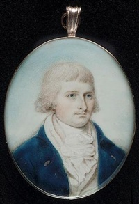 a gentleman wearing blue coat, white waistcoat and frilled chemise by thomas hull