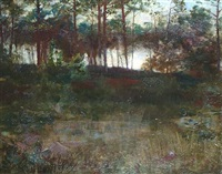 moonlight over pond by edmund wyly (sir) grier