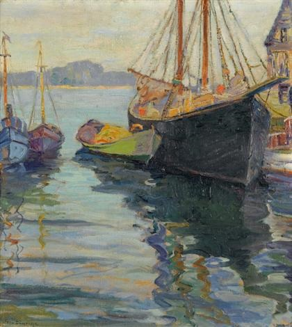 fishing boats in a harbor by fern isabel coppedge