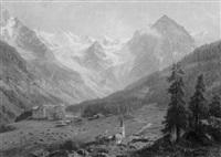 gletschermassiv mit blick auf ein dorf und einem höhenkurort by giovanni (johann) varone
