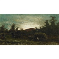 haying scene, dusk by george agnew reid