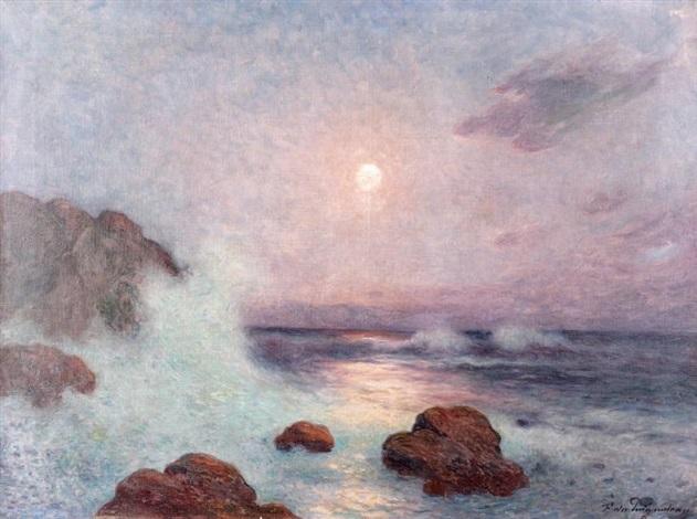 vagues au crépuscule by ferdinand puigaudeau