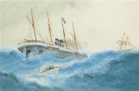 the oriental steam navigation cos ss orient standing by to help a ship in distress in rough waters by george frederick gregory