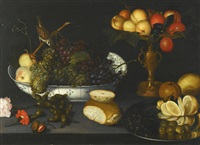 still life with grapes in a porcelain bowl, fruit in a gilt tazza and other objects by franz godin