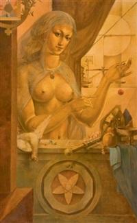 vénus et quatre dessins préparatoires pour ce tableau (5 works) by luc lafnet