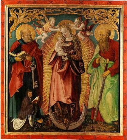 madonna mit kind auf der mondsichel sowie die heiligen petrus und paulus mit stifterfigur by hans suess von kulmbach