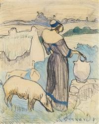 paysanne bretonne ou la ferme à la cruche (from les bretonneries) by émile bernard