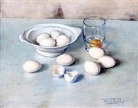 stilleven met schaal eieren by willem elisa roelofs