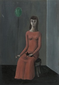 interior with balloon and black cat by gertrude abercrombie