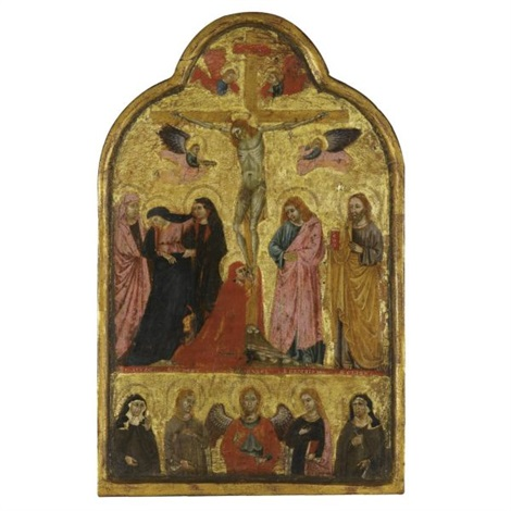 the crucifixion with the archangel michael and saints elizabeth of hungary agnes catherine of alexandria and clare the imago pietatis with the donor figures of a franciscan monk and nun double sided by giotto ambrogio bondone
