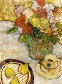 still life with flowers, pears and a coffee cup by lillian mackendrick