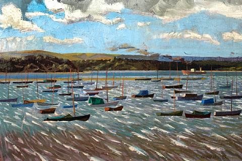 breezy day poole harbor by edward darcy lister