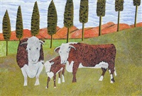 a family of cows in a landscape by james lloyd