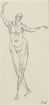 standing female nude by elie nadelman