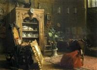 le cabinet de l'amateur, jeune femme examinant un tableau by paul louis martin des amoignes