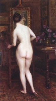 le modèle dans l'atelier by auguste (maurice françois giuslain) léveque