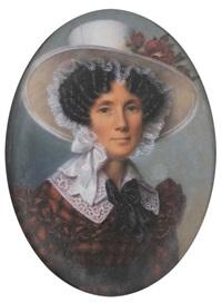 portrait de jeune femme au chapeau fleuri by alexandre-jean-baptiste hesse