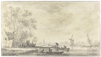 river landscape with figures unloading barrels, a cottage to the left and a mill and a village behind by jan josefsz van goyen
